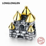 LONGLONGJIN Fit Pandora Charms Bracelet Silver 925 Gold Castle Building Beads Authentic DIY Fine <b>Jewelry</b> accessories <b>supply</b> gift