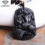Counter genuine Obsidian wholesale <b>supply</b> natural Obsidian pendant <b>jewelry</b> brave men and women money Made in China