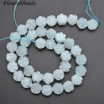 Natural Pure Color Amazonite Carved Rose Flower Stone Loose Beads <b>Jewelry</b> making <b>supplies</b> 3 strands per lot