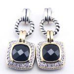 New Black Onyx Woman 925 <b>Sterling</b> <b>Silver</b> Crystal <b>Earrings</b> TE387
