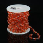 Orange Red Glass Faceted Rondelle Beads Chain,Rosary Style Plated Silver Wire Wrapped Link Making Necklace for Bracelet <b>Supplies</b>