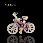 Sport Bicycle Brooch Handmade Painted Golden Color High Classic Leisure Women Men's <b>Jewelry</b> Ornament Accessory Pins, Item BH8274