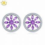 Hutang Natural Amethyst Flower <b>Earrings</b> Solid 925 <b>Sterling</b> <b>Silver</b> Gemstone Fine Jewelry <b>Earring</b> for Women Party Birthday Gift