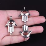 10pcs Silver Big Palm Pearl Cage <b>Jewelry</b> <b>Supplies</b> Colorful Bead Cage Pendant Essential Oil Diffuser For Pearl Jewellry