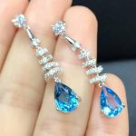 Blue Gemstone <b>Earrings</b> Jewelry 925 <b>Silver</b> Natural Blue Topaz <b>Earrings</b>