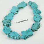 Full strand Blue Tur quoise Howlite Drilled Slice Beads Pendants,Magnesite Loose Beads Slabs Neckalces <b>Supplies</b> <b>Jewelry</b> Making