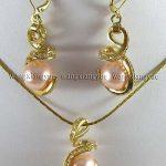 Prett Lovely Women's Wedding 12mm Pink South sea Shell Pearl Earrings & Necklace Pendant Set >AAA GP Bridal wide