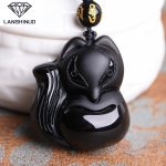The wholesale <b>supply</b> of Natural Genuine Obsidian Obsidian pendant <b>jewelry</b> pendant Wang love male and female fox Made in China