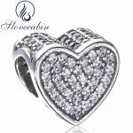 Slovecabin Diy Fit Pandora Snake Bracelet Original 925 Sterling Silver Heart Bead With Clear CZ For Women Fine <b>Jewelry</b> <b>Supply</b>