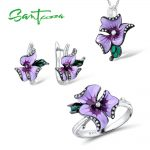 Santuzza Jewelry Set HANDMADE Enamel Pink Flower CZ Stones Ring <b>Earrings</b> Pendent Necklace 925 <b>Sterling</b> <b>Silver</b> Women Jewelry Set