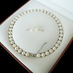 Women's Wedding Beautiful 8MM White Akoya Cultured Shell Pearl Necklace Earring Set 18″ real silver-<b>jewelry</b>