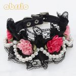 Abrrlo Pet <b>Supplies</b> Dog Leather Collar Dog Flower Lace Pearl <b>Jewelry</b> Necklace Lace Collar Dog Cat Collar