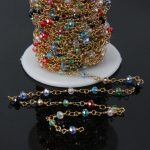 5Meter,3x4mm,Mixed color Faceted Glass Crystal Rondelle Chains,Brass Wire Wrapped Rosary Chains <b>Jewelry</b> Necklace <b>supplies</b>