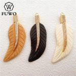 FUWO Natural Bone Carved Micro Pave Leaf Feather Pendant High Quality Multicolor DIY <b>Jewelry</b> Necklace Making <b>Supplies</b> PD1011
