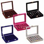 24 Slots Velvet Women Desk <b>Jewelry</b> Storage Box Portable Ring Necklace <b>Jewelry</b> Carrying Case Women Home Storage <b>Supplies</b> 5 Colors