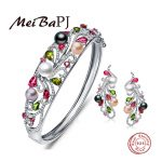 [MeiBaPJ] Luxury 925 <b>sterling</b> <b>silver</b> colorful pearl jewelry set bracelet and <b>earrings</b> with gift box wedding jewelry good precent