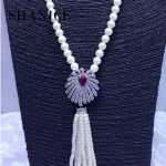 SHANICE DIY Luxury Camellia Pearls Necklace Making Findings <b>Supplies</b> Paved Zircon Connector Suspension Pendants Accessories