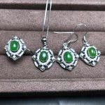 Natural Gemstone Jewelry Hetian Jasper White/Rose Gold Color Women 925 <b>Silver</b> Wedding Necklace/<b>Earrings</b>/Ring Jewelry Sets YJS014