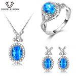 DOUBLE-R <b>Silver</b> 925 <b>Earrings</b> Ring Created Oval Bule Topaz Gemstone Pendant Necklace Zircon Women Wedding Jewelry Sets