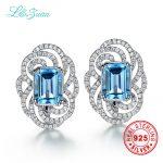 I&zuan Brand Luxury 925 <b>sterling</b> <b>silver</b> 4.57ct Topaz Blue Luxury Round Romantic Party Stud <b>Earring</b> For Women Gift