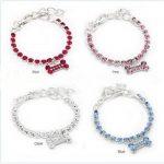 Pet Dog Rhinestone Collar Bone Pendant Dog Necklace <b>Jewelry</b> Ornament Pet <b>Supplies</b>