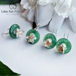 Lotus Fun Moment Real 925 <b>Sterling</b> <b>Silver</b> Natural Green Stone Creative Handmade Fashion Lotus Whispers Jewelry Set for Women