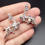 10pcs Bright Silver Hollow Christmas Deer <b>Jewelry</b> Making <b>Supplies</b> Pearl Beads Cage Pendant Essential Oil Diffuser Trendy Locket