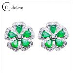 Classic flower stud <b>earrings</b> with emerald 10 pcs natural Zambia emerald stud <b>earrings</b> 925 <b>silver</b> emerald <b>earrings</b> for wedding
