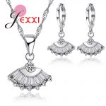 JEXXI 2018 New Stylish Unique Sector Crystal Silver 925 <b>Jewelry</b> for Women Wedding Bridal Silver Pendant Necklace Earrings Sets