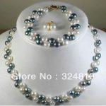 Women's Wedding Fashion 4 colors true pearl necklace bracelet earring sets real silver –<b>jewelry</b>