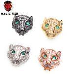 Magic Fish 10pcs DIY beads Leopard head Copper Inlaid white zircon Drop shipping <b>Supplies</b> for charms <b>jewelry</b> sieraden maken