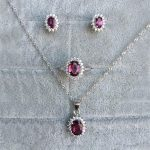 Natural Gemstone Jewelry Garnet/Pyrope White Gold Color Women 925 <b>Silver</b> Jewelry Set Wedding Necklace/<b>Earrings</b>/Ring Sets YJS013