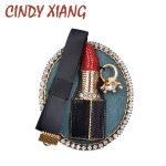 CINDY XIANG Cute Lipstick Brooches for Women Handmade Lace Brooch Pin Coat Accessories New Design 2017 Fashion <b>Jewelry</b> Good Gift