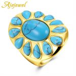Ajojewel Fashion Big Rings For Women Blue Semiprecious Stone Sun Ring Gift <b>Jewelry</b> Party <b>Supplies</b>