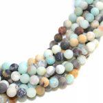 Fashion diy Frosted Matte 8mm Amazonite Multi Colored <b>jewelry</b> making <b>supply</b>