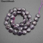 Wholesale High Quality Natural Amethyst 12mm Faceted Flat Round Coin Shape Stone Loose Beads <b>Jewelry</b> <b>Supplies</b>