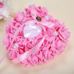Wedding Ring Pillow Heart Box With Ribbon Pearl For Wedding <b>Supplies</b> Fashion Gift