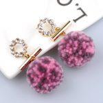 Dangling Earrings For Women Hairball & Rhinestone Earrings <b>Supplies</b> For <b>Jewelry</b> Cheap Chinese Goods Vintage Earrings 4 Colors