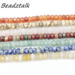 Beadztalk Natural Stone Beads Loose Spacer 5×8 mm Faceted Rondelle Abacus Beads DIY Earrings <b>Jewelry</b> making <b>Supplies</b>