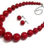 Women's Wedding Beautiful! 7-15mm Red Coral Round Beads Necklace Earrings Set real silver-<b>jewelry</b>
