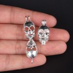 10pcs Silver Skull Pearl Cage <b>Jewelry</b> Making <b>Supplies</b> Colorful Bead Cage Pendant Essential Oil Diffuser For Pearl Jewellry