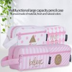 1 pc Large Capacity Canvas Pencil Case School Pencil Box Stationery Pouch Makeup Pen Box Cosmetic Bag <b>Supplies</b> Stationery