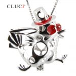 CLUCI Silver Running Turkey Pearl Cage <b>Jewelry</b> Making <b>Supplies</b> Beads Cage Pendant, Thanksgiving and Christmas gift