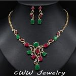 CWWZircons Vintage Yellow Gold Color Natural Red And Green Created Emerald Bridal <b>Necklace</b> Earrings <b>Jewelry</b> Set For Wedding T122