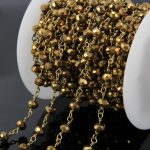 5Meters Gold titanium Faceted Glass Bead Chains,Crystal Rondelle Brass Wire Wrapped Rosary Chains loop Necklace <b>supplies</b>