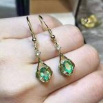 natural green emerald <b>earrings</b> 925 <b>silver</b> Natural gemstone <b>earring</b> women personality romantic fashion fine <b>earrings</b> for party