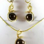 Prett Lovely Women's Wedding shipping> >12mm Chocolate South sea Shell Pearl Earrings & Necklace Pendant Set 18″ silver-<b>jewelry</b>