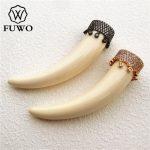 FUWO Micro Pave Ox Bone Horn Pendant High Quality White Bone Carved DIY <b>Jewelry</b> Necklace Making <b>Supplies</b> PD1013