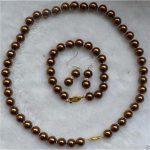 Women's Wedding 8mm Chocolate Sea Shell Pearl Necklace & Bracelets Earring Set>AAA GP Bridal wide w moda real silver