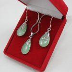 Prett Lovely Women's Wedding lady's light green waterdrop pendant & earrings <b>jewelry</b> sets for party